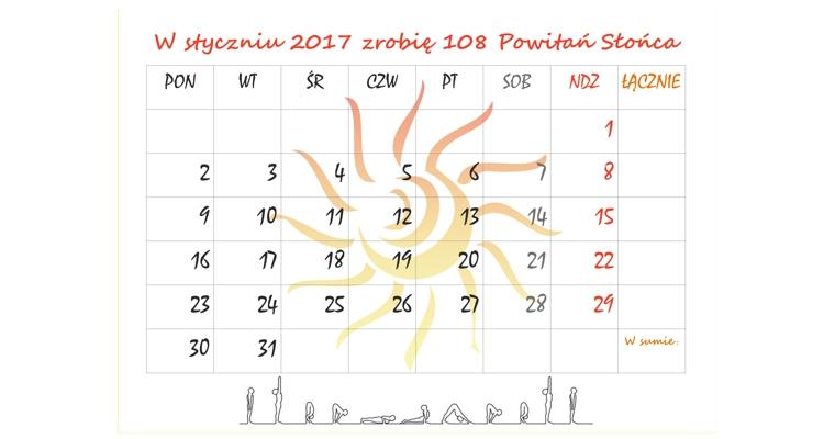 """Kalendarz na styczeń 2017 – wyzwanie: """"W styczniu 2017 zrobię 108 Powitań Słońca"""""""
